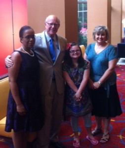 Senator Roberts with staff member Kay Sharp, Rachel and Jawanda Mast