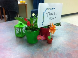 Pretty, simple table decor made the teachers feel a little more special we hope.