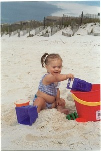 Loving the Florida beach in 2001.