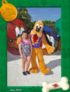Pluto and Rachel at Castaway Cay Disney Cruise 2012