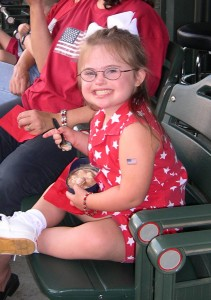 Eating ice cream at a July 4th baseball game!