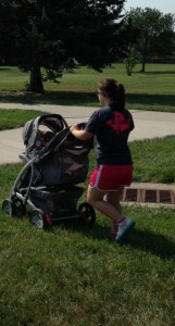 Strolling a baby to the park