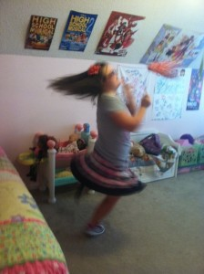 TT dancing in her room