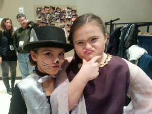 CYT Shrek the Musical. Acting silly with her Rat Tapper friend.