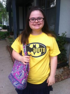 Last Day of MS. Proudly wearing her Olathe South shirt!