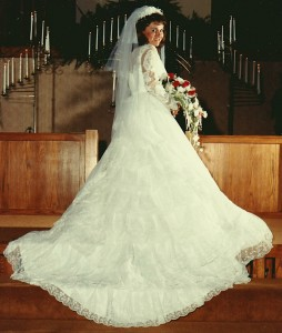 This is Jonathan's favorite picture from our wedding. The dress was loaned to me by my cousin.