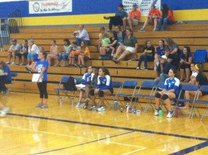 Rachel on the sidelines as volleyball manager