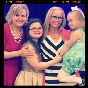 "Honored to present Ms. Sherri Harnish with NDSS Ambassador of the Year Award. She and her daughter Macy are ""awesome!"""