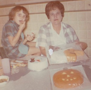 Picture in our kitchen where my mom was baking cakes for the school cake walk.