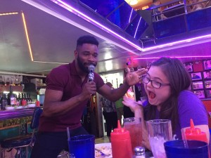 Singing Happy Birthday to Rachel at Ellen's Stardust Diner.
