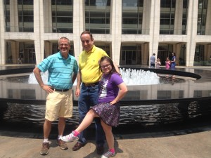 Julliard Fountain. We had just met a Rockette.  Rachel trying out her kicks.