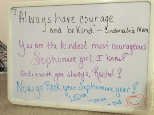 Always have courage and be kind, Rachel!