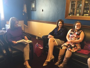 "Congresswoman Lynn Jenkins (R-KS) reviewing Rachel's bio and NDSS ""asks"". She joined the Congressional Task Force on Down Syndrome and signed on as a co-sponsor for the Accurate Education for Prenatal Screenings Act."