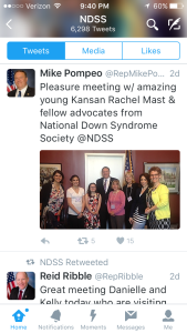 Tweet by Congressman Pompeo (R-KS) following the KS delegation's visit during #BWW2016