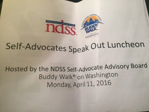 Rachel loved the luncheon sponsored by the NDSS Self-Advocate Advisory Board. They talked about voting rights.