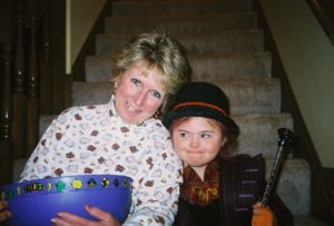 One of my favorite pictures of Pam and Rachel. Rachel was Willie Wonka for Halloween.
