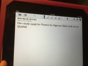 Notability example of a note from Language Arts
